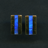 EARRINGS – 18KY STUDS WITH RECTANGULAR OPAL INLAY.