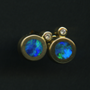 EARRINGS - 14ky with opal inlay