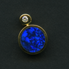 PENDANT - OPAL INLAY IN one circle, BLUE, AND 1 DIAMOND - 18KY