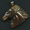 QUEENSLAND BOULDER OPAL CARVING - HORSE WITH 10KY HOOK