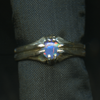 Ring Triplet 4MM Round Blue Green - Claw setting