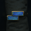 RING – 18KY WITH 2 PIECES RECTANGULAR OPAL INLAY.