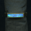 RING – 18KY WITH BLUE, GREEN AND RED RECTANGULAR OPAL INLAY.
