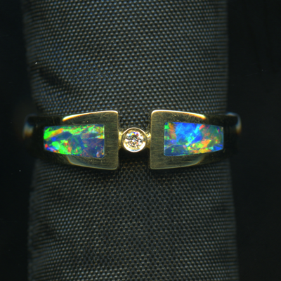 RING – 18KY - OPAL INLAY - 2 PIECES (BLUE RED GREEN) WITH DIAMON