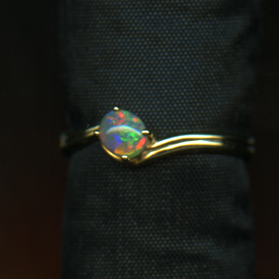 RING – 14KY WITH 4X3MM OPAL